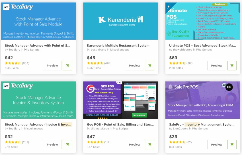 Bestselling Inventory and stock management PHP scripts on CodeCanyon