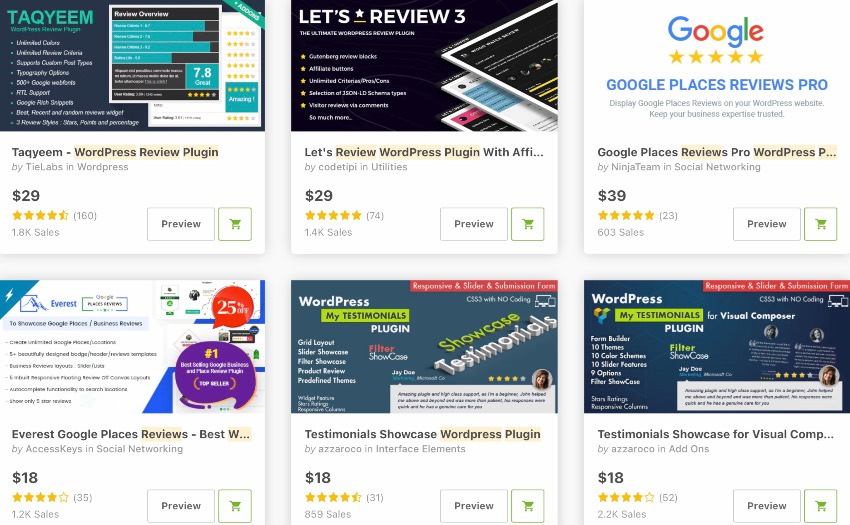 Bestselling review plugins on CodeCanyon