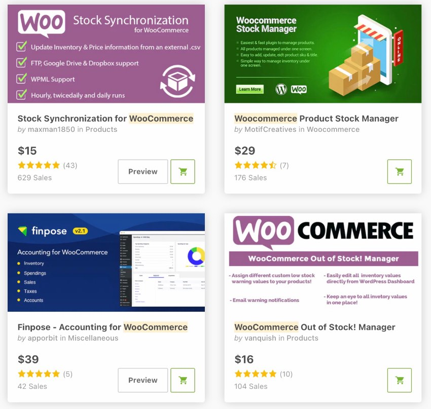 Bestselling Inventory Plugins for WooCommerce and WordPress on CodeCanyon