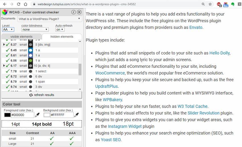 WCAG Color Contrast Checker for Chrome