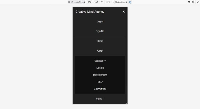 Mobile menu with flexbox