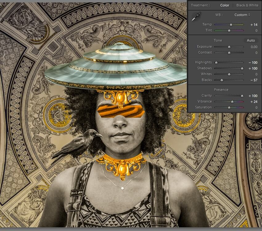 Adjusting the temperature and exposure in Lightroom