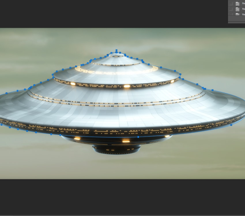 Outlining the UFO to delete the background