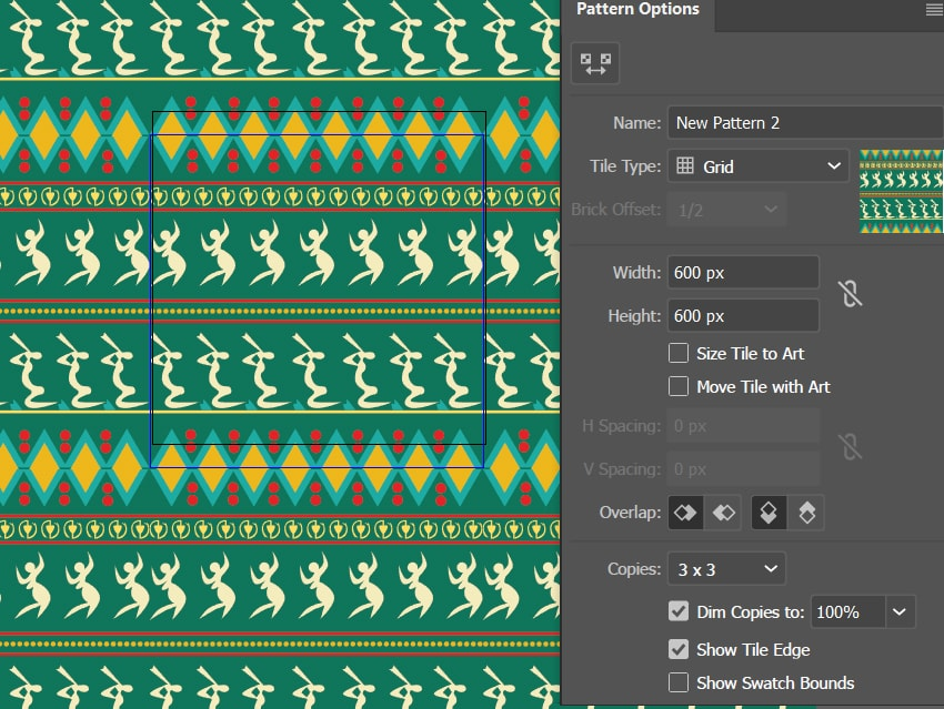 how to create interbedded pattern illustrator
