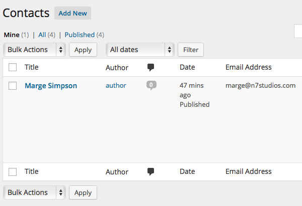 Viewing the Authors own Contacts in WordPress