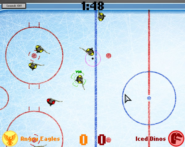 The currently selected athlete and the puck received animated HUD marks It helped the player locate the important things on the screen quickly