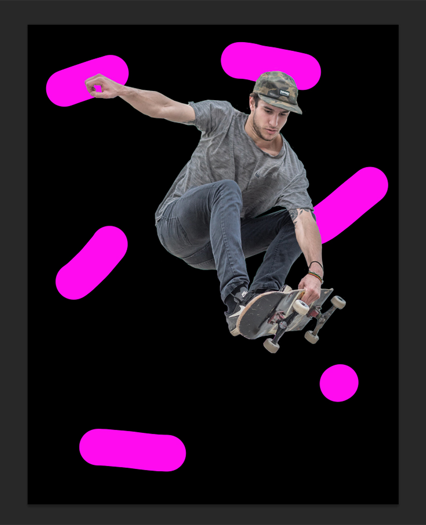 Preparing brush strokes behind skateboarder to liquify