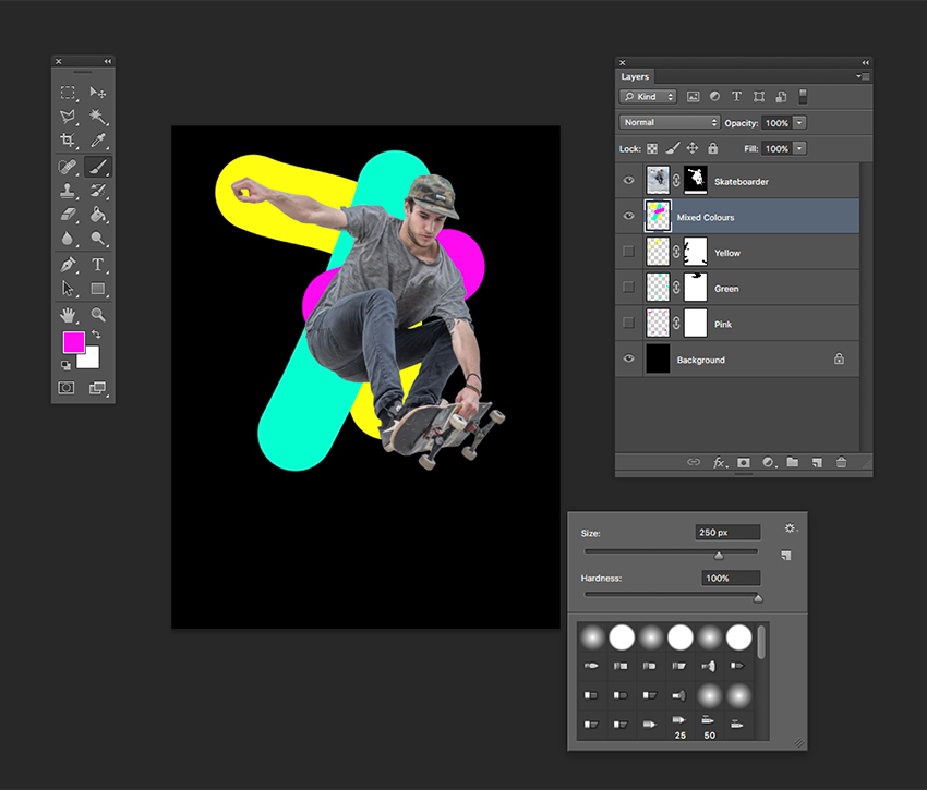 Creating a new Layer with all three colours to be blended with the Liquify Tool