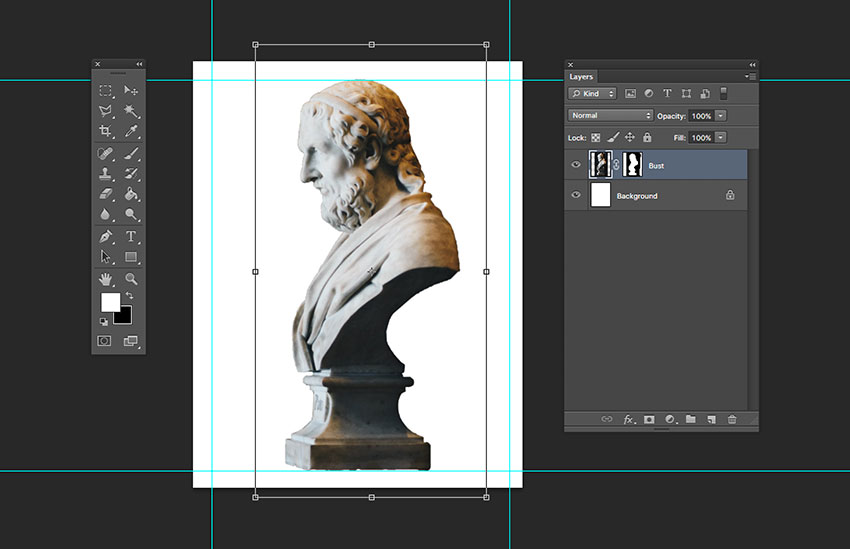 Resize bust image to margins