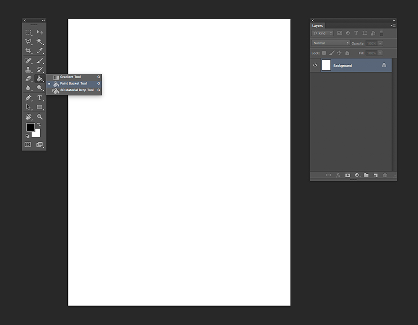 Paint the page with black using the bucket tool