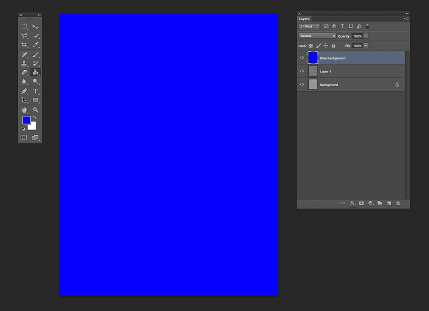 Create a new layer and color the page with an electric blue or any desired color