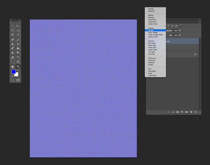 Set the new blue colored layer to the Screen blending mode