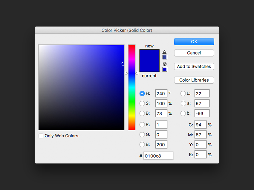 Create a new fill layer and select a blue color