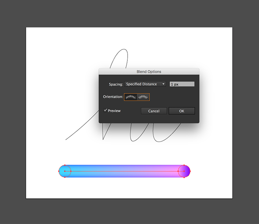 Open the Blend Options and change the Specified Distance to 1px
