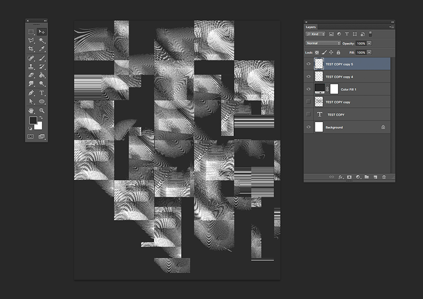 Add a dark background and invert the displaced layers