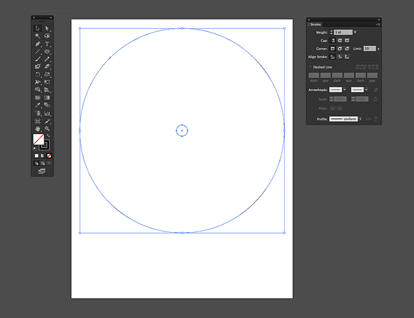Create two circles using the Ellipse Tool