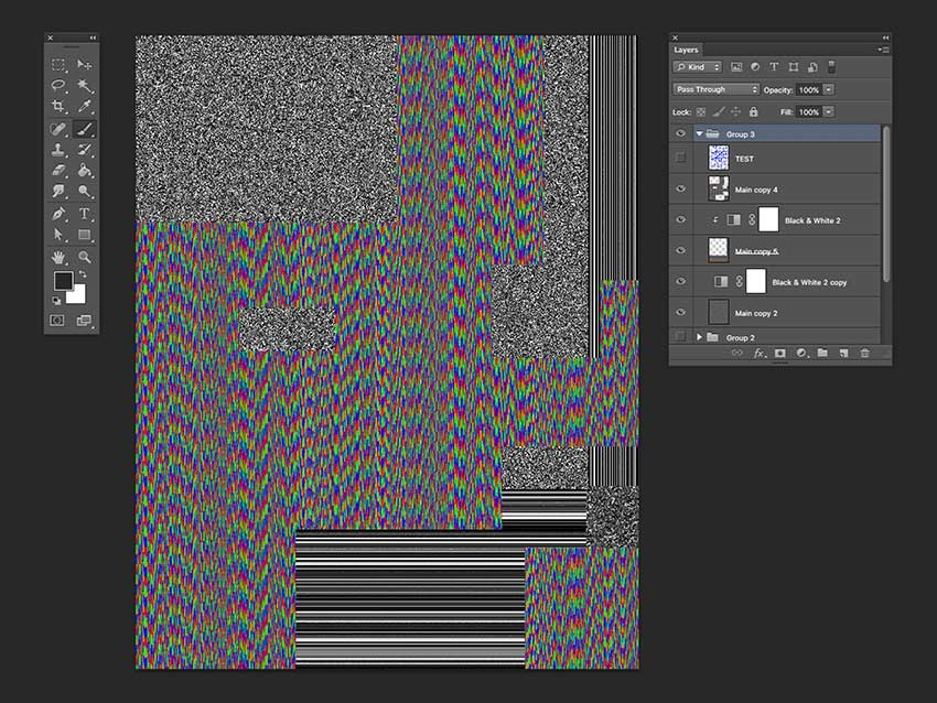 Using the Rectangular Marquee Tool you can delete certain parts of the layer to reveal the back