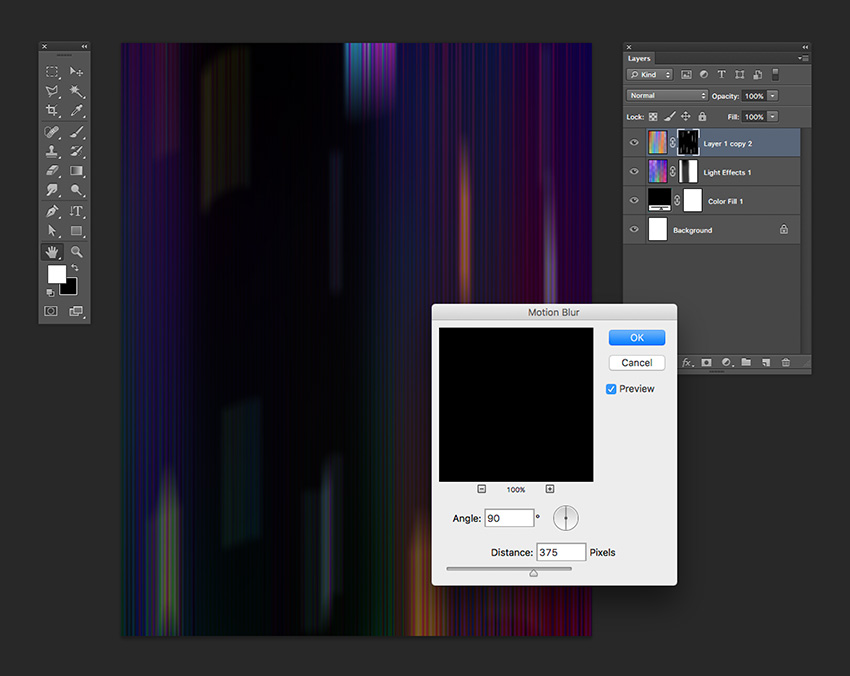 Use the Motion blur tool on the layer mask