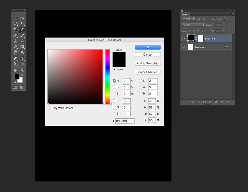Add a black Solid Color Adjustment Layer