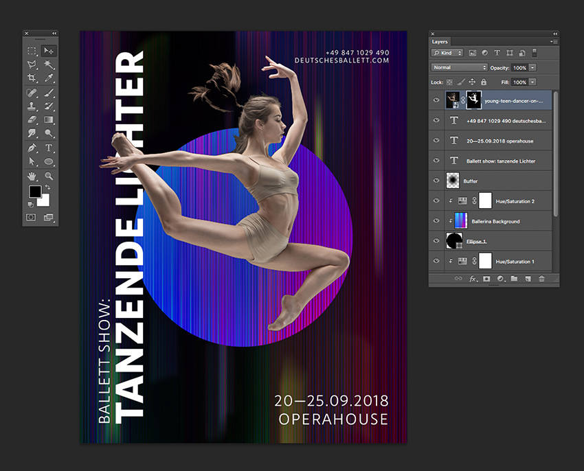 Add a Layer Mask and using the Magic Wand Tool clean up the dancer layer
