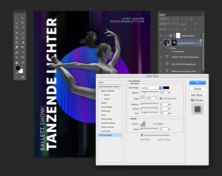 Add a drop shadow to the dancer layer to create dimension