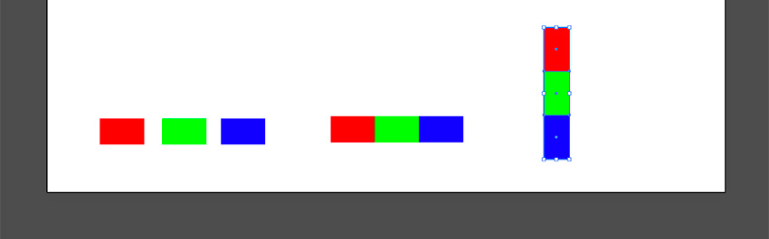 Create rectangles in red blue and green colors