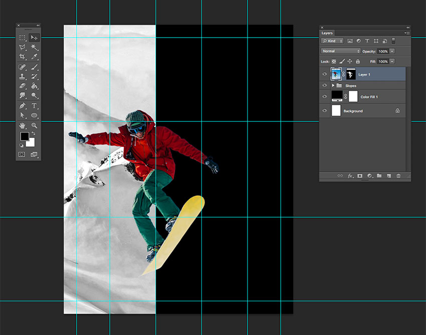 Transform the snowboarder image