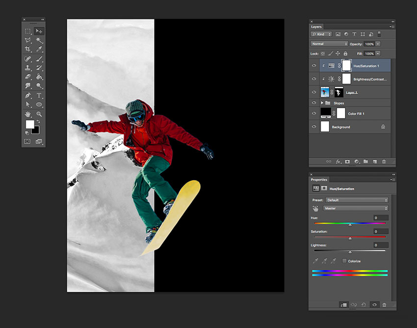 Add a HueSaturation and a BrightnessContrast adjustment layer Create clipping masks with these two new layers