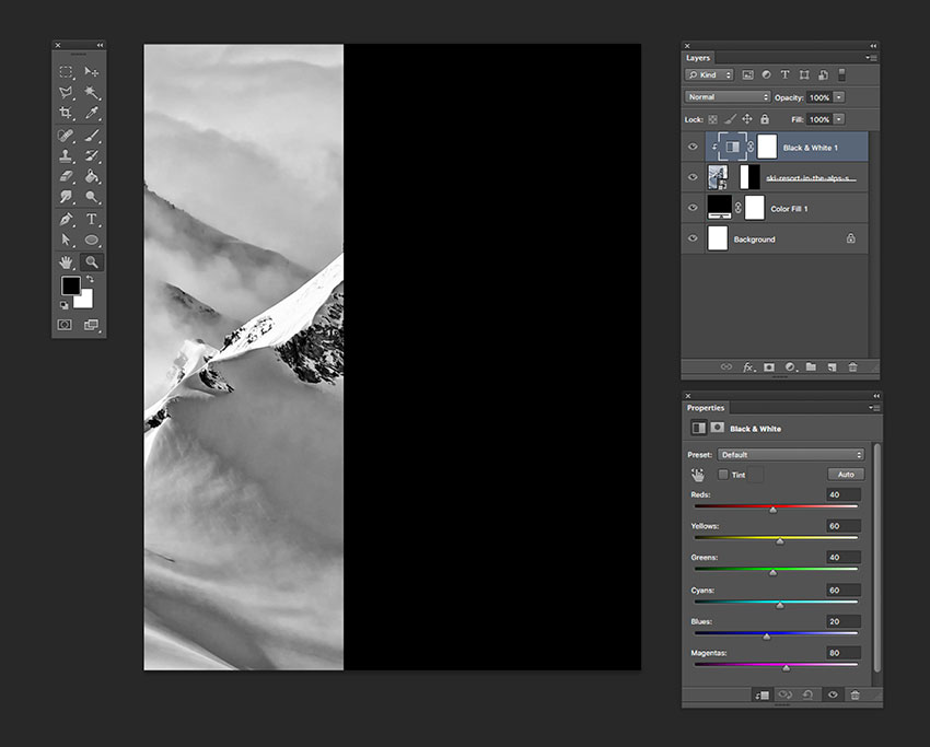 Create a clipping mask with the Black  White adjustment layer