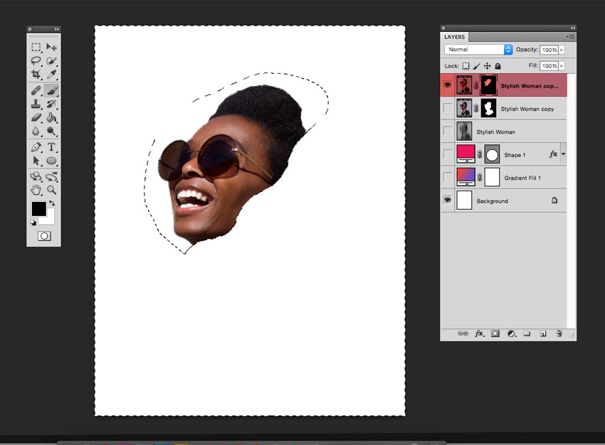 Use the Lasso Tool to create a wave form across the stylish womans face