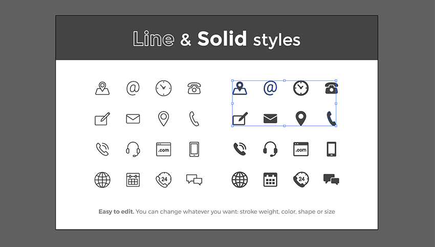 Open the icons file in Adobe Illustrator