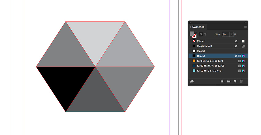 Using the Tint option on the swatches panel set each triangle in 20 increments