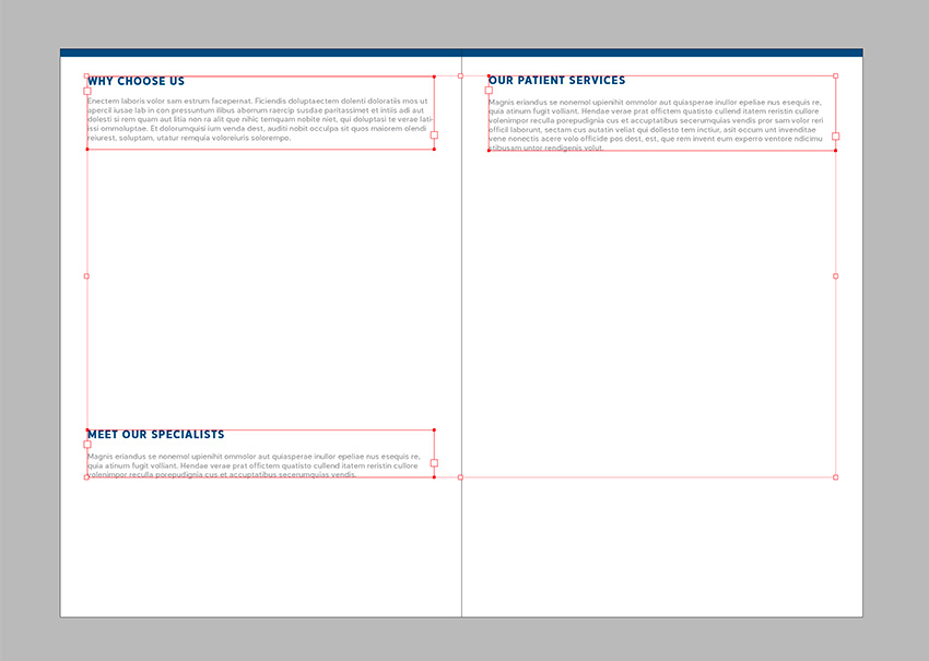 Add copy to the inside of the brochure use the paragraph styles to format the text boxes