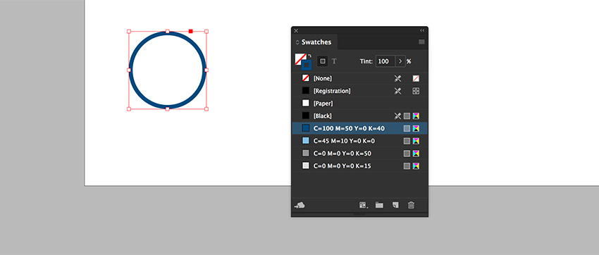 Create a circle with the ellipse tool