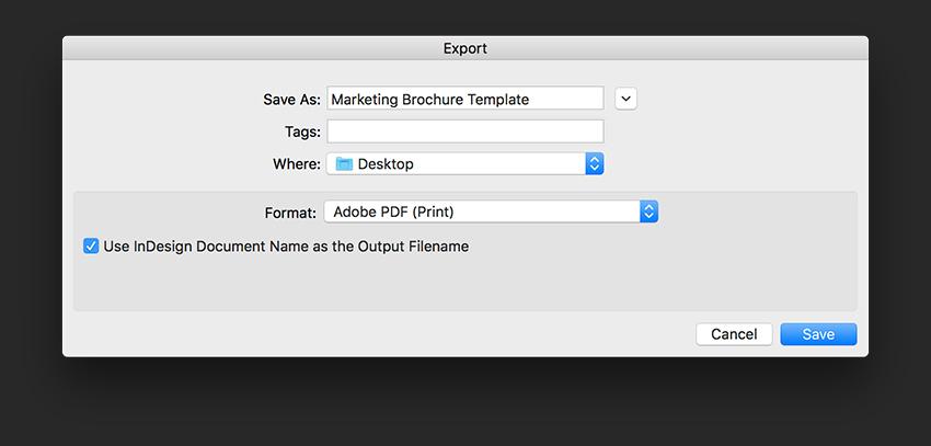 Export a PDF file