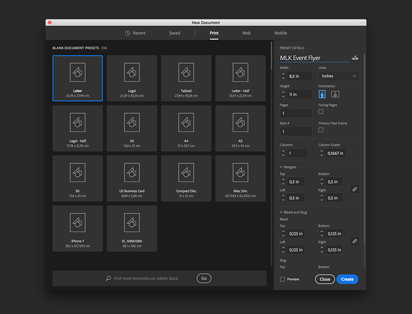 Create a new InDesign file