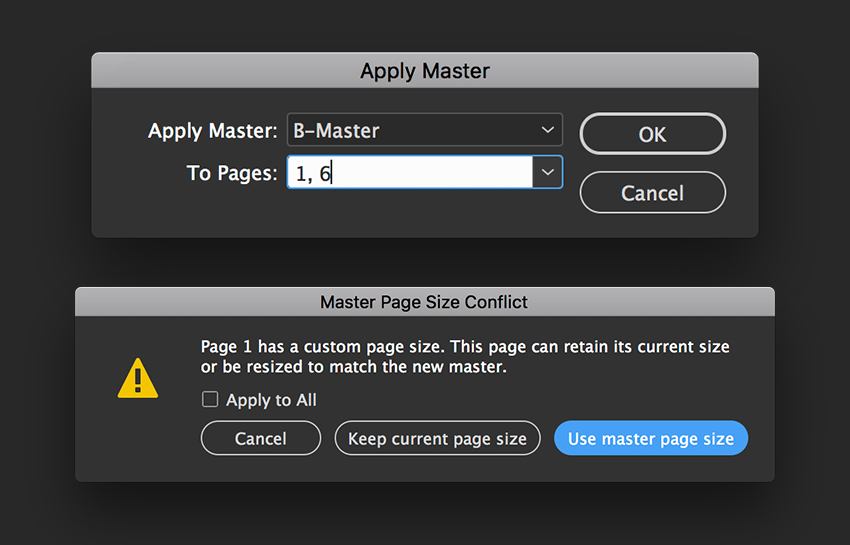 Apply Master pages to pages 1 and 6