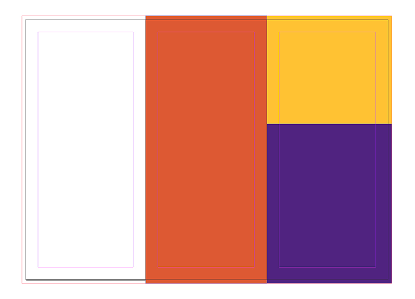 Cover page 3 with two rectangles that fit on the top and bottom of the panel Set the color to yellow and purple