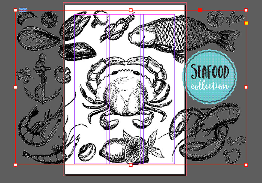 place the seafood image onto the document