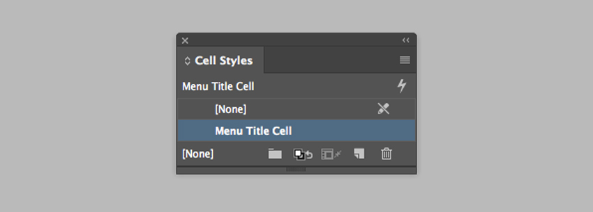 use the cell styles panel to format the first cell of the table