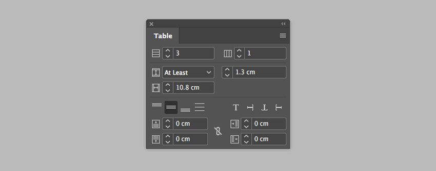 change the row height by going to the table panel