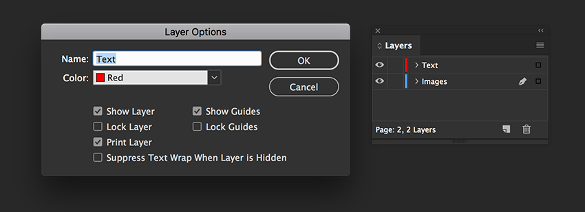 create new layers for text and images