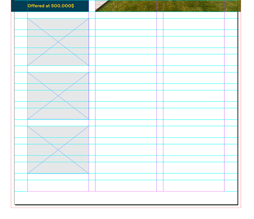 create three rectangles on the first column
