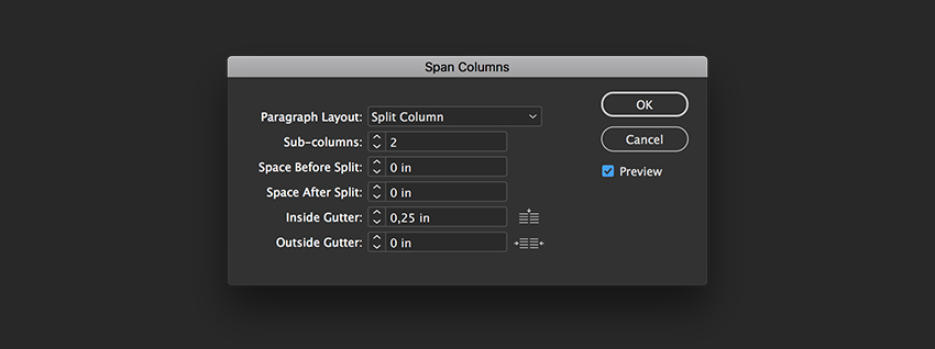split part of the text into two columns using the span columns option