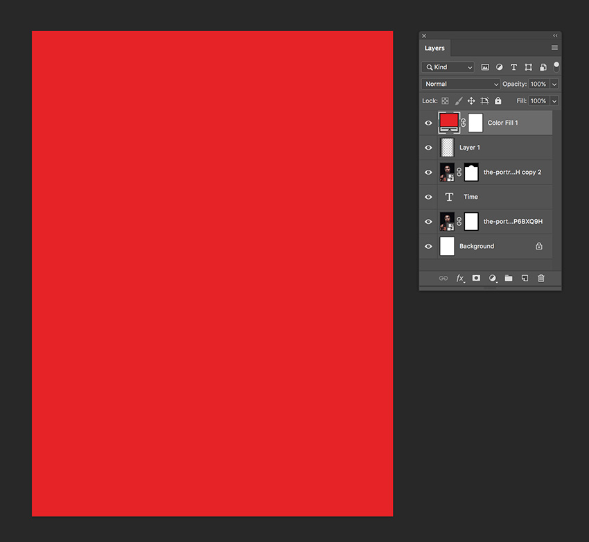 create a red solid color adjustment layer
