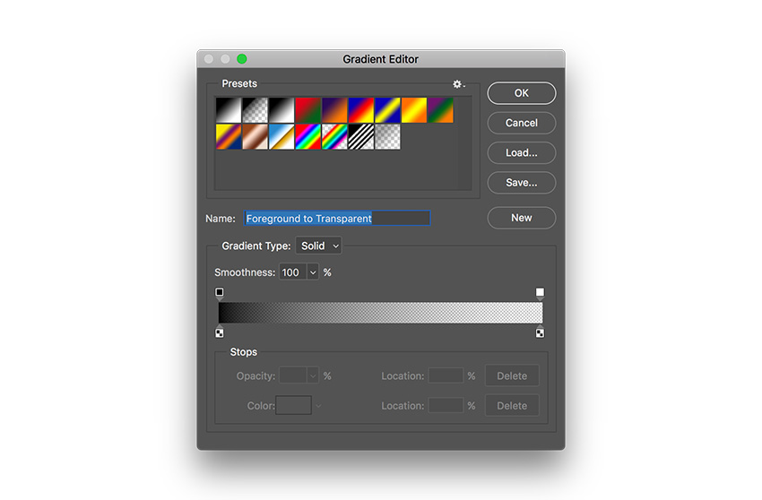 select the gradient tool editor