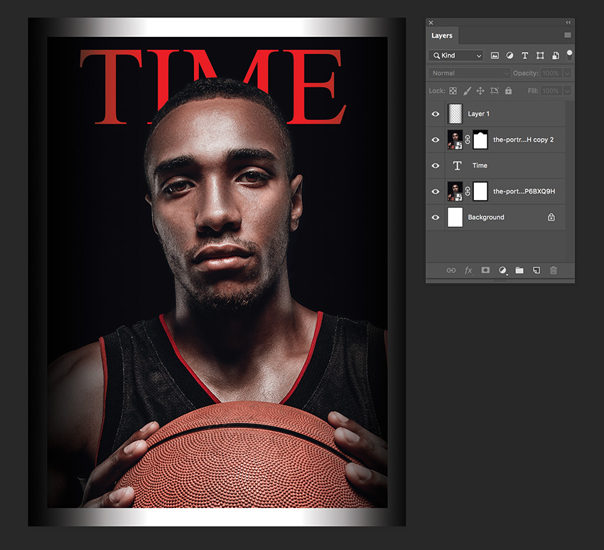 use the gradient tool to darken the sides of the magazine cover template