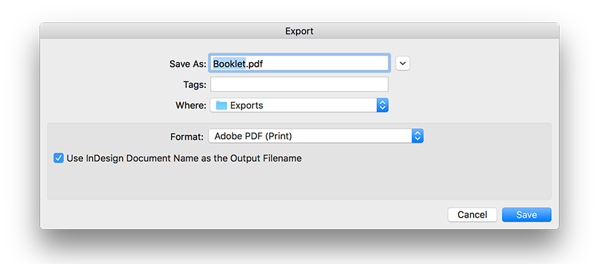 export as a PDF file for print