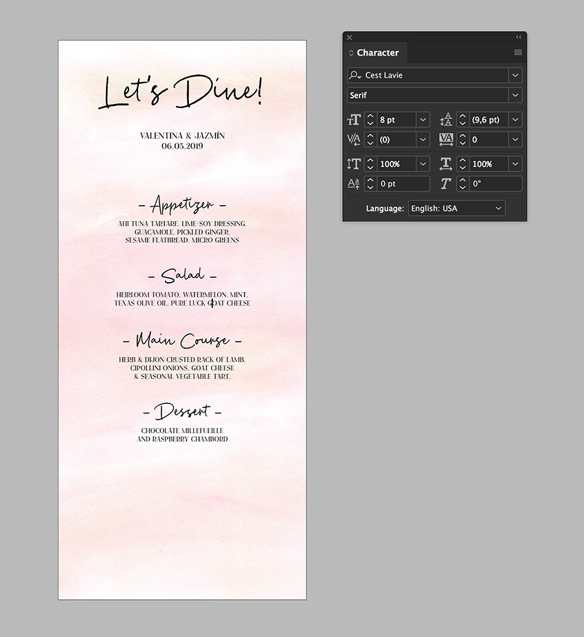 add the menu copy and use the character panel to format the menu template