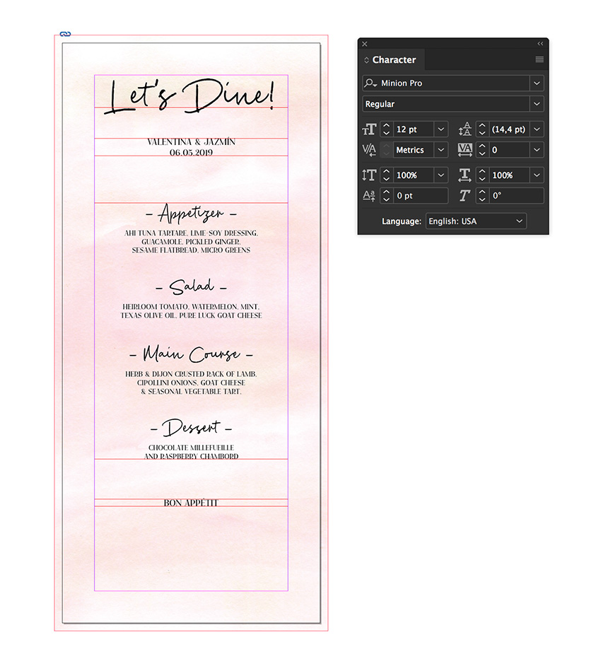 add a final line on the menu card template